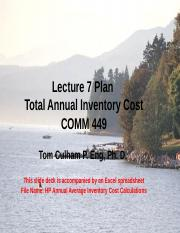 Lecture 7 HP Annual Inventory Cost Problem