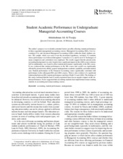 Student Academic Performance in Undergraduate Managerial-Accounting Courses