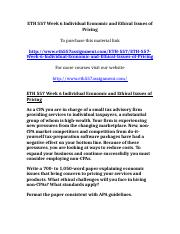 UOP ETH 557 Week 6 Individual Economic and Ethical Issues of Pricing.doc