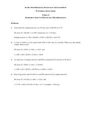 PFM - Tutorial Solutions - Topic 2 Introduction to Financial Mathematics (updated)