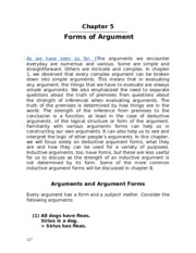 Chapter 5 - Forms of Argument