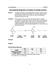 Experiment #28-Borohydride Reduction of Vanillin to Vanillyl Alcohol