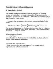Topic 16 Ordinary Differential Equations