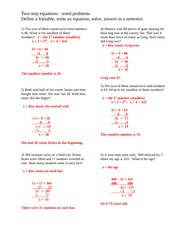 Word Problems- More Practice - Two-step equations - word problems ...