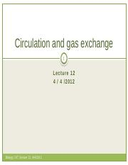 Lecture 14- Circulation and gas exchange
