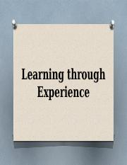 Learning through Experience