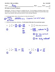 Quiz 1 Solution on Arithmetic with Fractions