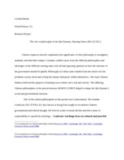 Philosophy and Qin dynasty research paper