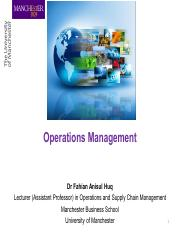 Week 7 Operations management 2016 Fundamentals of Management