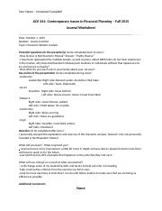 ACE 341 Journal Assignment Worksheet - Oct 1