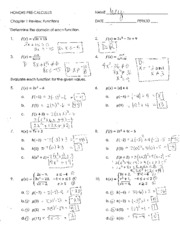 Chapter 1 Review - Functions - Answer Key
