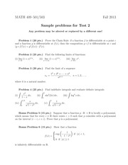 Sample Exam 2 on Advanced Calculus 1