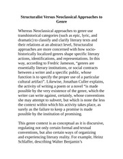 Structuralist Versus Neoclassical Approaches to Genre