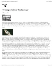 "Transportation Technology â€"" North American Indians"