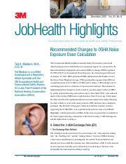 MODULE 5 Discussion (5dB OSHA exchange rate vs 3dB NIOSH