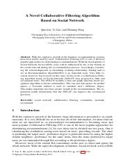 A Novel Collaborative Filtering Algorithm Based on Social Network