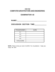 Computer Science 152 - Spring 1995 - Kong - Midterm 2