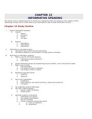 CHAPTER 13 Informative Speaking Outline