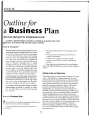 Outline for a Business Plan (Scanned) AE