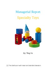 QBA 237 Managerial Report Specialty Toys