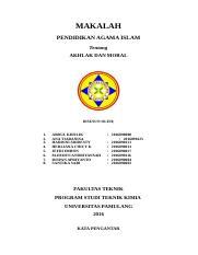 Makalah Agama Done Makalah Pendidikan Agama Islam Tentang Akhlak