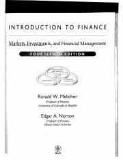 Finance by Melicher and Norton n1