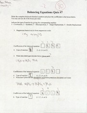 CHEM- Balancing Equations quiz (graded)