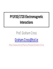 Electromagnetic Interactions - Lectures 1 and 2