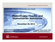 LECTURE 13 - Philanthropy, Charity, and Humanitarian Assistance