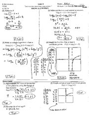Solving functions of Logs Quiz and Answers