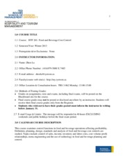 Syllabus for Food and Beverage Cost Control