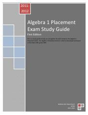 Algebra 1 Placement Exam Study Guide 2011