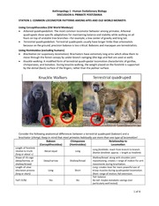 Primate and Postcrania Lab and Solutions