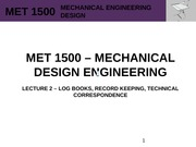 MET 1500 - Mechanical Design Engineering - Lecture 2 - REV0