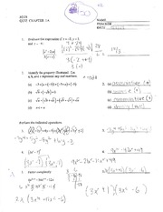 M328 - Quiz Chapter 1A with Answers