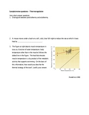 Thermoregulation questions