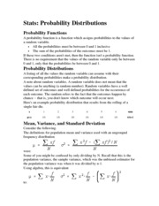 BUSSTAT 207 Probability Distributions