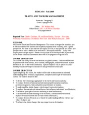 TRAVEL & TOURISM MANAGEMENT SYLLABUS FOR FALL 2009