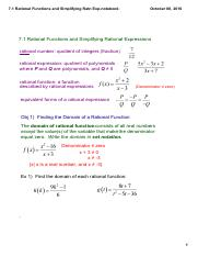7.1 Rational Functions and Simplifying Ratn Exp