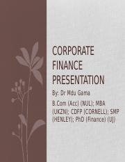 UJ Corporate Finance Presentation 3rd Year Students (20 October 2015) (1)