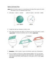 Spheres and Sections Notes