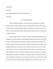 Crictical Writing Assignment