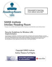 IS3120 LAB #5 SANS Security Guidelines - Wireless LAN Implementation