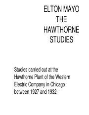 elton mayo hawthorne
