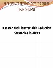 Lecture 3 Disaster and disaster risk reduction strategies in africa