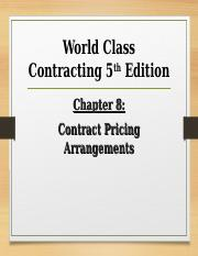 World Class Contracting Chapter 8