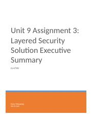 Unit 9 Assignment 3 - Layered Security Solution Executive Summary (1)