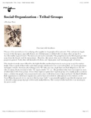 "Social Organization - Tribal Groups â€"" North American Indians"