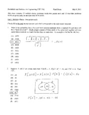 Spring 2011 Final Exam Solutions