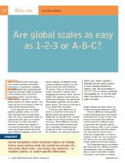 Are Global Scales as Easy as 1-2-3 or A-B-C_